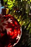 Christmas Ornament (Close-Up)0. Red Christmas ornament hanging in a tree. Nice lighting & reflections Stock Photo
