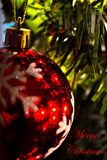Christmas Ornament (Close-Up)0- says Merry Christmas -red Stock Photography