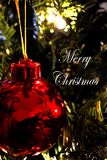 Christmas Ornament (Close-Up)1- says Merry Christmas -white Royalty Free Stock Images