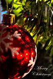 Christmas Ornament (Close-Up)0- says Merry Christmas -white Stock Photos