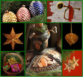 Christmas Ornament Collage. With multiple photos of ornaments and German nostalgic Christmas Tree stand Stock Photos