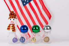 Christmas ornament  with colorful balls with american flag Stock Photos