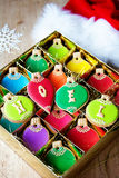 Christmas ornament cookies. Gift box of Christmas ornament cookies Royalty Free Stock Photos