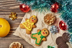 Christmas ornament and cookies Royalty Free Stock Images