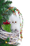 Christmas Ornament Cute Baby Owl Nest Lights Vintage Rustic Stock Photo