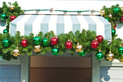 Christmas ornament decorated on canvas canopy. Or roof stock photo
