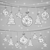 Christmas ornament decoration on grey vector illustration