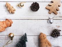 Christmas ornament decoration on wooden grunge background. With copy space for your text.Top view and vintage style Royalty Free Stock Photo