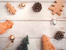 Christmas ornament decoration on wooden grunge background. With copy space for your text.Top view and vintage style Stock Photo