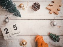 Christmas ornament decoration on wooden grunge background with copy space. For your text.Top view and vintage style Royalty Free Stock Photo