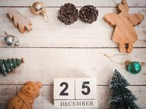 Christmas ornament decoration on wooden grunge background with copy space. Vintage filter effect Stock Photo