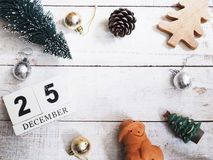 Christmas ornament decoration on wooden grunge background. With copy space for your text.Top view and vintage style Royalty Free Stock Image