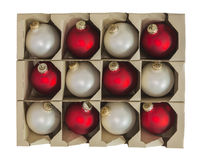 Christmas Ornament Decorations in Box Isolated royalty free stock photography