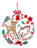 Christmas ornaments and deer. Christmas ornament with deer, glass bell, flowers, snowflake and holly Stock Image