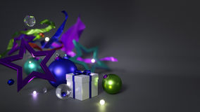 Christmas Ornament Empty Space For Text on Dark Background 3D Re Stock Photo