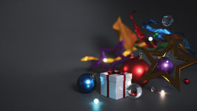Christmas Ornament Empty Space For Text on Dark Background Royalty Free Stock Photography