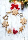 Christmas ornament flat lay; Christmas holidays decoration card background royalty free stock photo