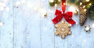 Christmas ornament flat lay; Christmas holidays decoration card background royalty free stock image