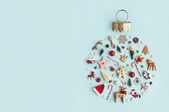 Christmas ornament flat lay royalty free stock images