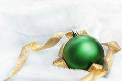 Christmas ornament on fluffy rug Royalty Free Stock Photography