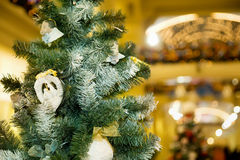 Christmas ornament in form of pigeons on fir-tree Royalty Free Stock Photography