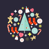Christmas holiday icons. Christmas ornament formed from holidays icons with bell, christmas tree,socks, cookie man, candy stick, heart, star, toys on purple Royalty Free Stock Photography