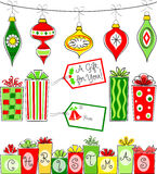Retro Christmas Ornament and Gift Set/eps Royalty Free Stock Images