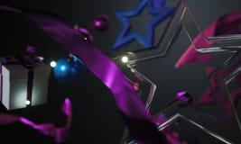 Christmas Ornament Glass Stars on Dark Background Royalty Free Stock Photo