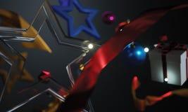Christmas Ornament Glass Stars on Dark Background. 3D Rendering Stock Image