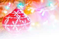 Christmas ornament globe on the tree. With copy space royalty free stock images