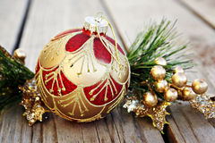 Christmas Ornament with Gold Berries Royalty Free Stock Images