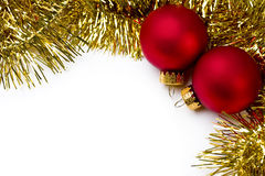 Christmas ornament and gold garland Stock Images