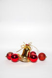 Christmas ornament golden bell and red bell Royalty Free Stock Photography
