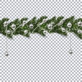 Christmas ornament from the green branches of a fir tree with a shadow and snowflakes. silver balls and beads on the. Background checkers. Vector illustration Royalty Free Stock Image