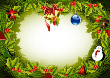 Christmas ornament. Green with golden bells and toys Stock Image