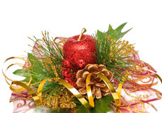 Christmas ornament - green golden red pine branch Stock Photos
