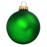 Christmas ornament. Green christmas ornament isolated on white stock images