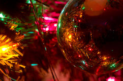 Christmas Ornament Hanging on a Christmas Tree. Close Look at Christmas Ornament Hanging on a Christmas Tree royalty free stock photography