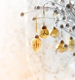 Christmas ornament hanging on a twig Stock Images