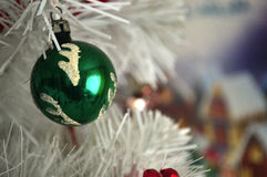 Christmas. Ornament hanging on a white  tree Royalty Free Stock Image
