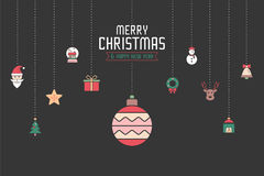 Christmas ornament icons for designs postcard, invitation, poste Royalty Free Stock Images