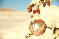 Christmas Ornament. Lavender Christmas ornament in snow stock photos