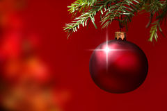 Christmas Ornament with Lighted Tree in Background Royalty Free Stock Image