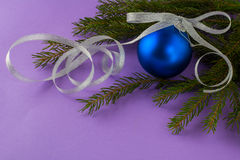 Christmas ornament lilac background royalty free stock images