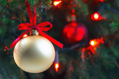 Christmas Ornament On Tree. Copy Space Stock Photography