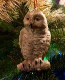Christmas ornament. An owl at Christmas royalty free stock image