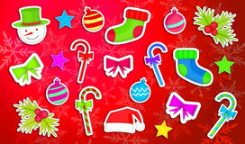 Christmas Ornament Pack Set Red Background Stock Image