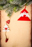 Christmas ornament on paper Stock Photos