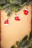 Christmas ornament on paper Royalty Free Stock Photos