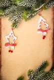 Christmas ornament on paper Royalty Free Stock Image